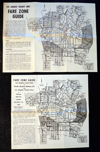 2 Maps 1950 FARE ZONE GUIDE Pacific Electric Railway / Los Angeles Transit Lines