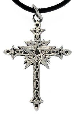 Gothic Cross Pentagram Silver Pewter Pendant Leather Pentagram Silver Pewter Pendant