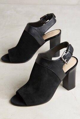 New Anthropologie Caleres Fae Peep Toe Shooties Size 9 5 Black Open Toe Heels