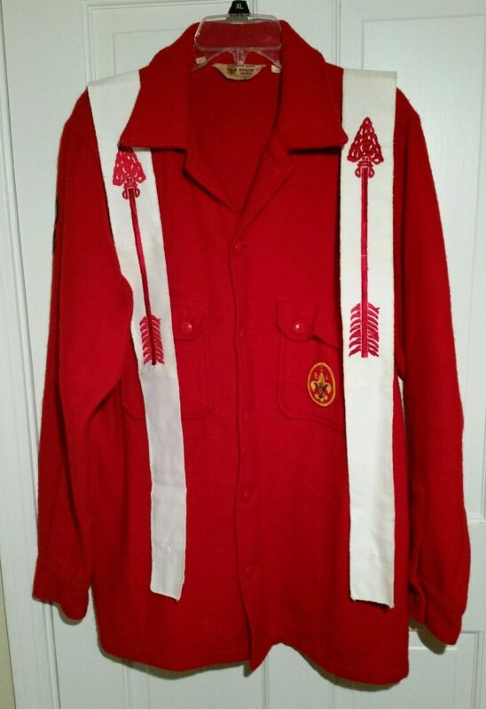 Vtg Boy Scouts of America BSA Red Wool Jacket Size 42 Order Of Arrow Sashes