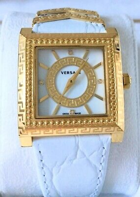 Ladies New Versace VQF010015 DV25 Gold IP Square Diamond Watch. Discounted BNWT