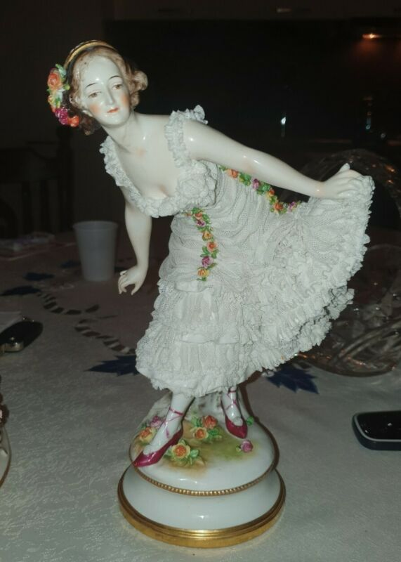 Large Antique German Dresden Volkstedt Lace Porcelain Figurine