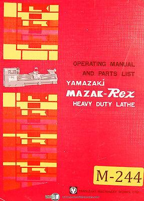 Mazak Rex Yamazaki 24 30 Lathe Operations And Parts List Manual Year 1969