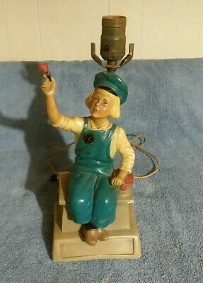 Vintage 1938 Dutch Boy Paint Chalkware Display Sign Lamp Awesome!!