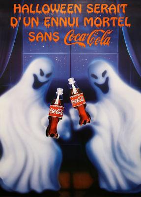 Original Vintage Halloween Ghosts French Coca Cola Poster - Coca Cola Halloween