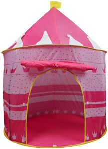 Portable-Pink-Folding-Play-Tent-Kids-Girl-Princess-Castle-Fairy-Cubby-House-New