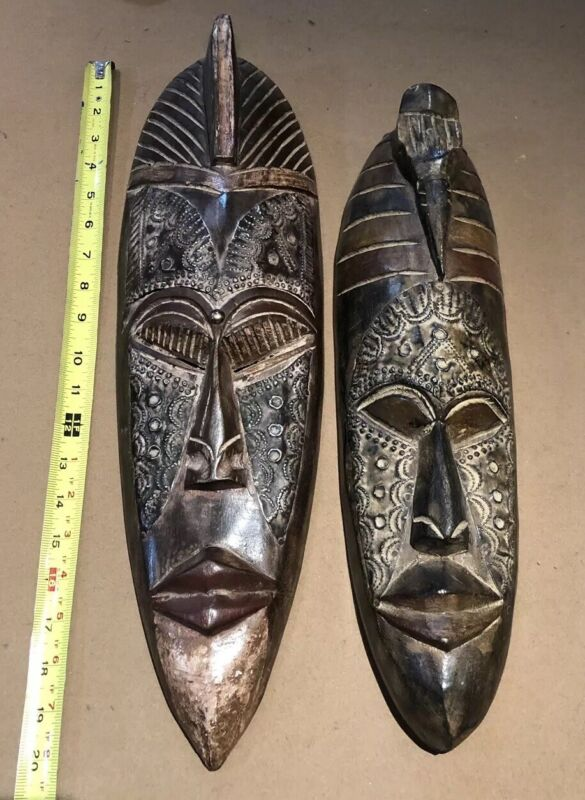 Set Of 2 Antique African Or South American Tribal Wood Carved Mask.