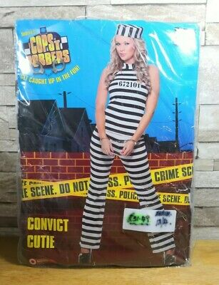 FANCY DRESS COSTUME FEMALE CONVICT CUTIE SIZE 12 - 14 BRAND NEW IN PACKET