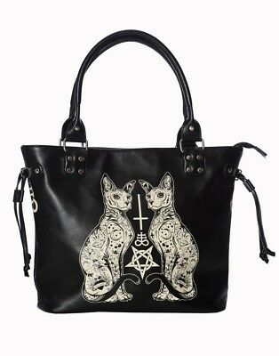 Banned Apparel Esoteric Cat Gothic Pentagram Punk Kitty Purse Tote Bag BG7246BLK