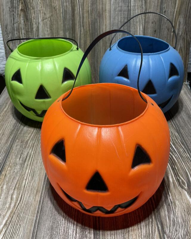 3 Vintage Blow Mold Plastic Jack-O-Lantern Pumpkin Halloween Candy Bucket USA