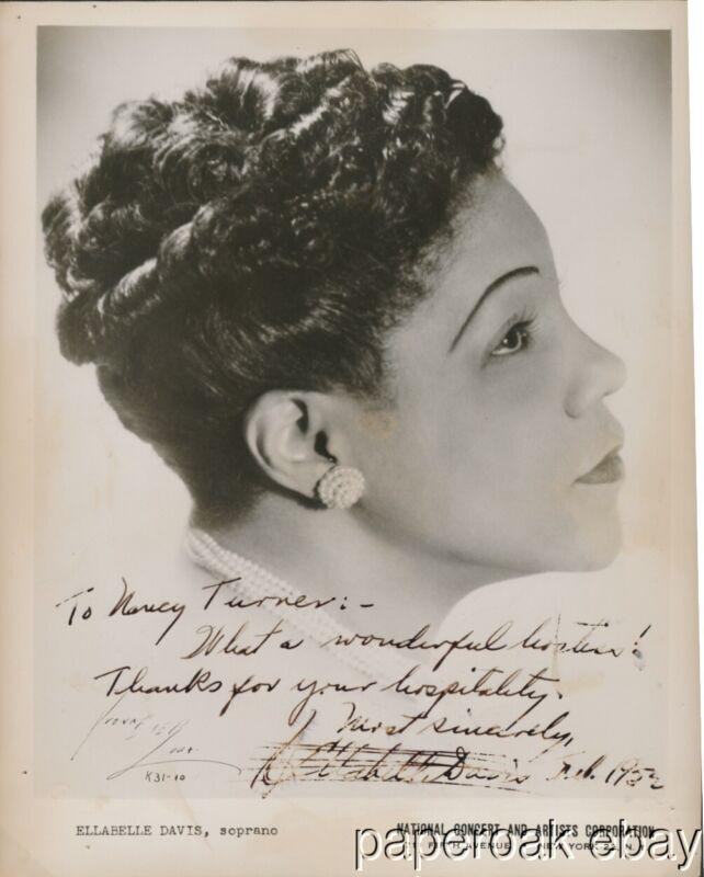 1952 Ellabelle Davis Black American Soprano Signed Photo