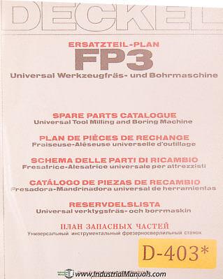 Deckel Fp3 Universal Tool Milling Boring Spare Parts Manual Year 1980