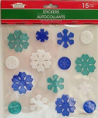 Christmas GEL Sticker Window Clings ~ Snowflakes 15 ct. w - Snowflake Window Clings