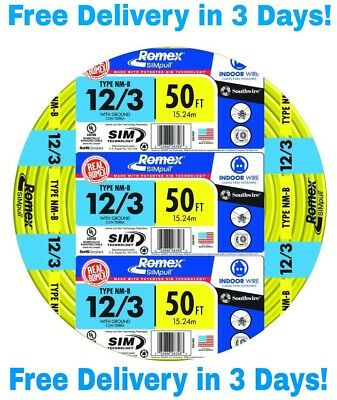 123 Wground Romex Indoor Electrical Wire 50 Feet All Lengths Available