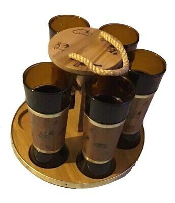 Vintage Siesta Ware Cowboy Themed Drink Set, 5 Glasses w/ Wood Wrap & (Cowboy Glasses)
