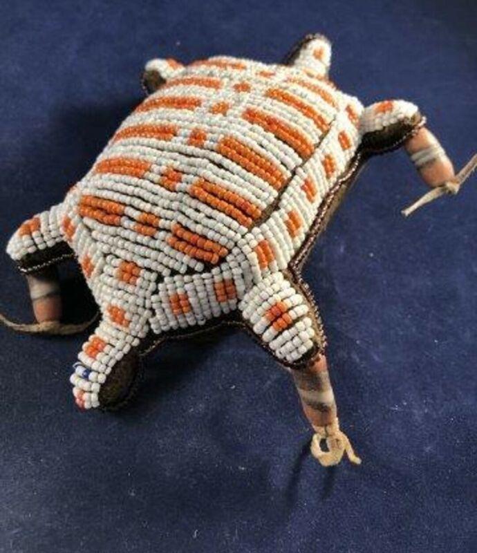 Vintage Sioux Indian Fetish Lizard Figure Bead Beaded Beadwork Leather Montana