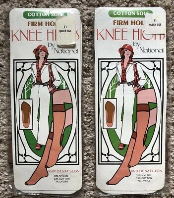 Vintage Knee High Firm Hold Cotton Sole Hose By National New Lot 11 Queen Size Cotton Sole Knee High