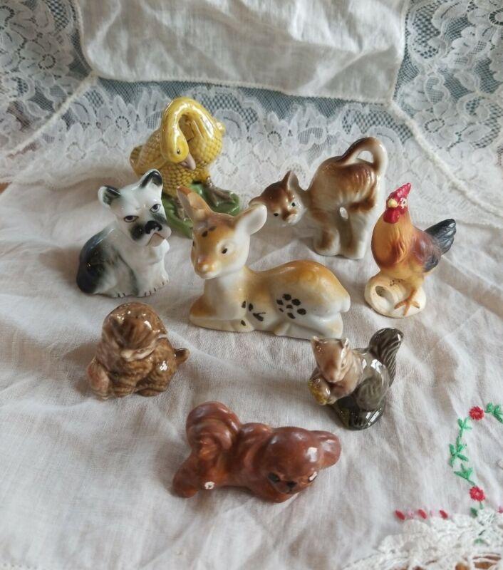 Lot Of 8 Vintage Farm Animals Ceramic