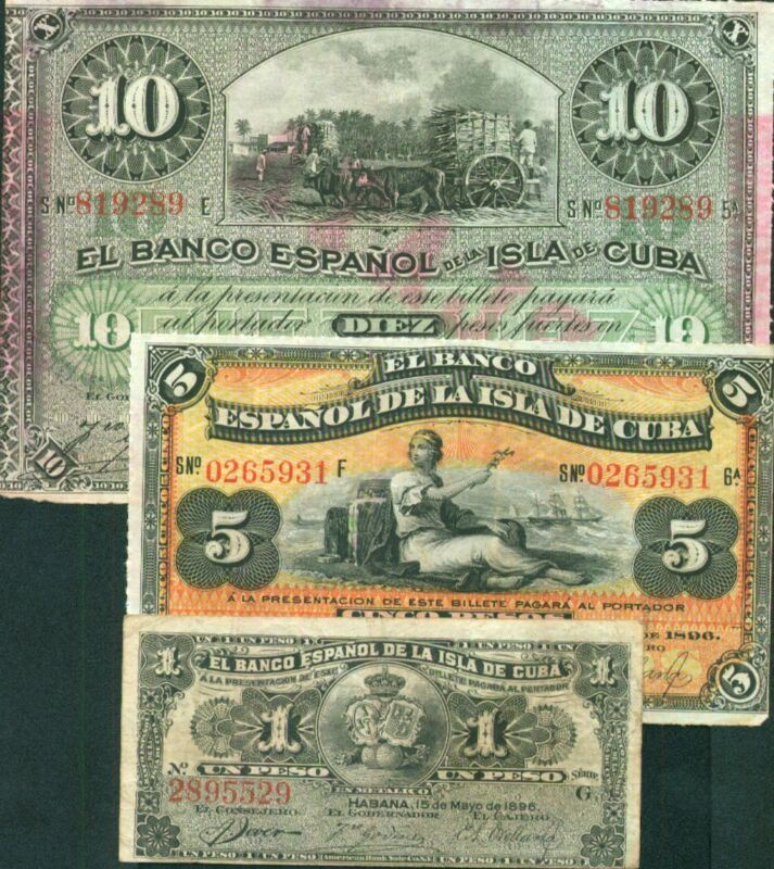 SPAIN COLONIAL 1-5-10 PESOS 1896. ORIGINAL!  F-VF CONDITION.