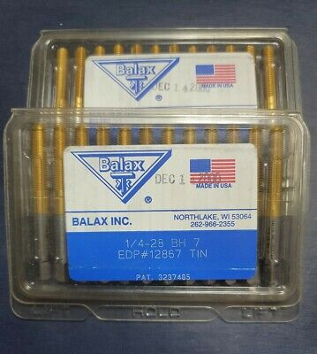 Balax Unused Package Of 12 Taps 14-28 Unf Bottom Thread Forming Tin Rh H7
