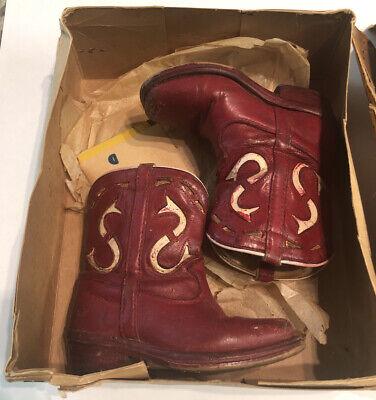 Vtg ACME Red Child Cowboy Boots 7.5 D