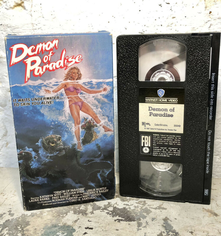 VINTAGE VHS Demon of Paradise 1987 CREATURE HORROR Up From Depths Jaws Lagoon