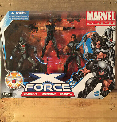 "Marvel Universe 3.75"" X-Force, Deadpool, Wolverine, Warpath 3-pack"