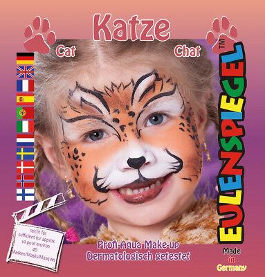 Eulenspiegel Motiv-Set Katze, Schmink-Set Katze mit Schmink-Anleitung 1 Pinsel ()