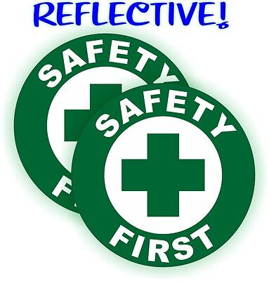 2 Reflective Safety First Hard Hat Decals Construction Helmet Stickers Badge
