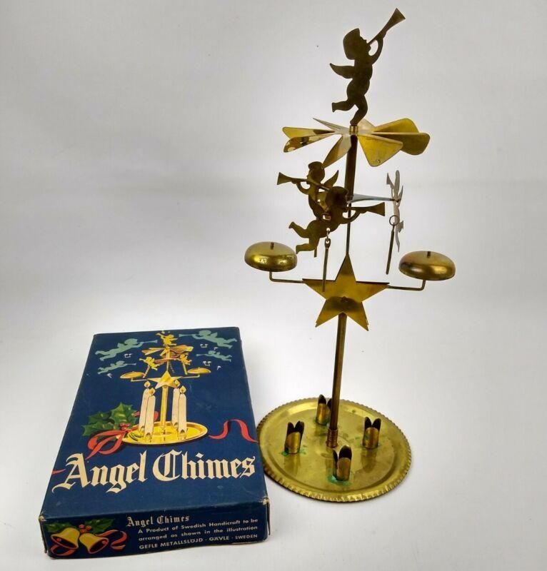 Vintage Brass Swedish Angel Chimes Windmill Original Box Christmas Decor