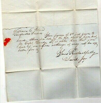 (WHALE )OIL, NANTUCKET, DAVID JOY LETTER TO WILLIAM C. FOLGER, HYANNIS MASS., 1830's
