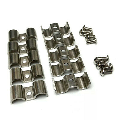 3/8 Stainless Steel Double Fuel Line or Trans Clamp 10 Pieces With Screws