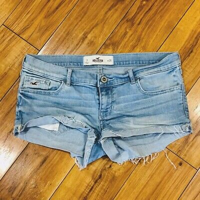 Hollister Womens Jean Shorts Size 7 / 28 Distressed Cuffed Stretch