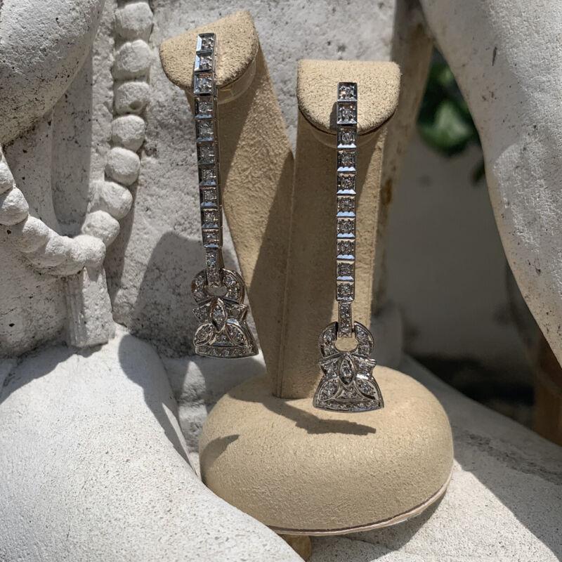 Antique Art Deco Vintage 80 Points Diamond 14k White Gold Earrings