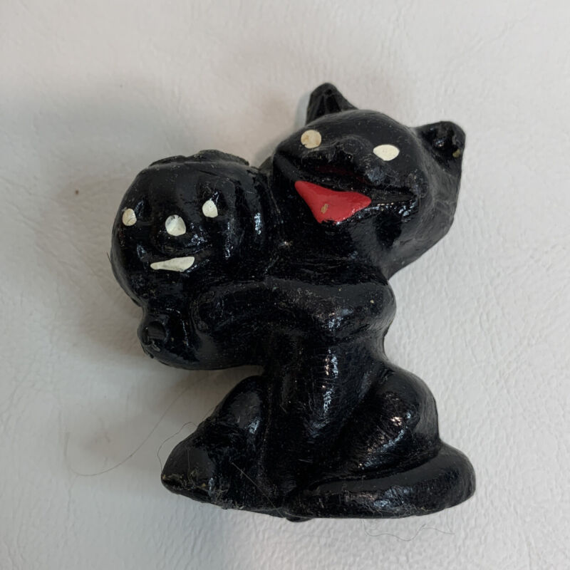 Vintage Gurley Wax Black Cat Party Favor Candle Holder Candy Halloween Old Toy