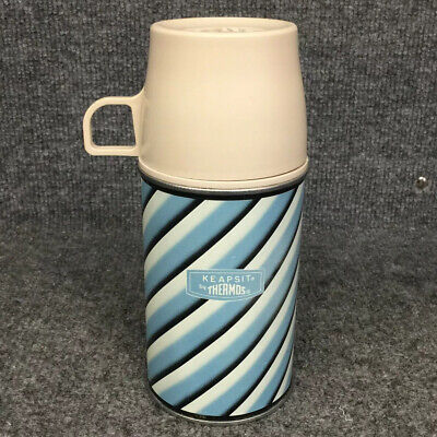 Vintage 1969 Metal Thermos 8oz Blue Stripes 2833 King Seely W/ Stopper & Cup Lid