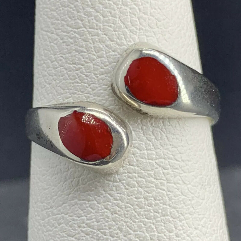 Vintage Crossover Ring Modernist Band Red Glass Inlay 925 Silver Size 4.25