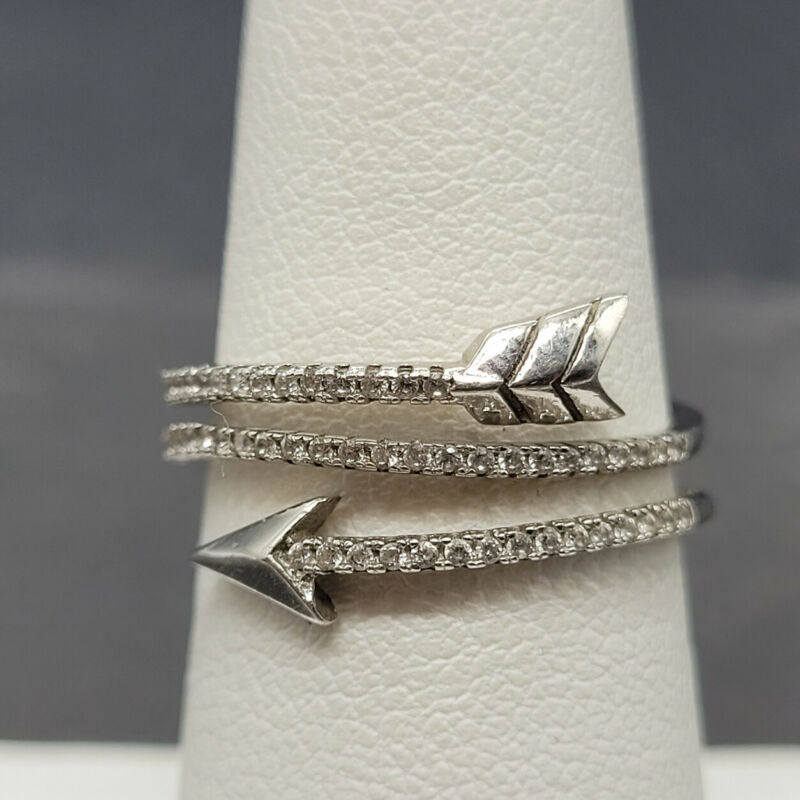 Vintage 925 Sterling Silver Wrap Arrow with Glass Ring Size 6.25