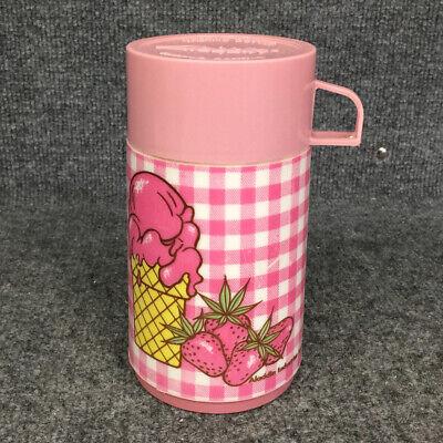 Vintage ALADDIN Thermos Gingham Pink Ice Cream Cone Strawberries