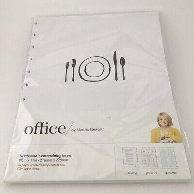 Martha Stewart Office Discbound Notebook Entertaining Inserts 8.5x11 New