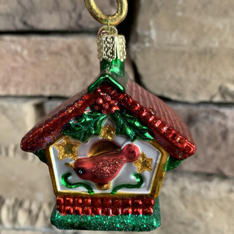 Old World Christmas OWC Bird House Ornament Cardinal German Glass