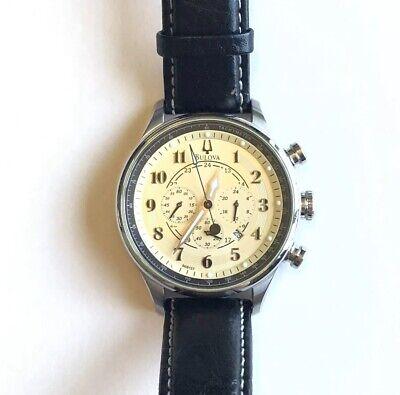 Bulova Adventurer Chronograph Quartz 44 mm SS Case w Black Leather 96B137 Chronograph Ss Case