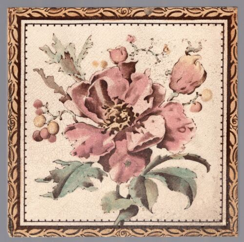 Maw & Co. - c1885 - Pink Floral - Antique English Hand-Tinted Tile