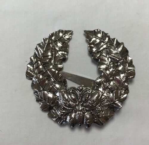 """SYLVIA DAHL SIGNED SCARF CLIP ON BUTTERFLY WREATH Silver Toned Large 3"""""""