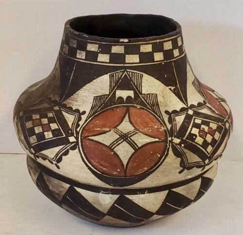 HISTORIC ACOMA POLYCHROME POTTERY JAR, BEAUTIFUL RIBBED CONSTRUCTION, EXC, C1890