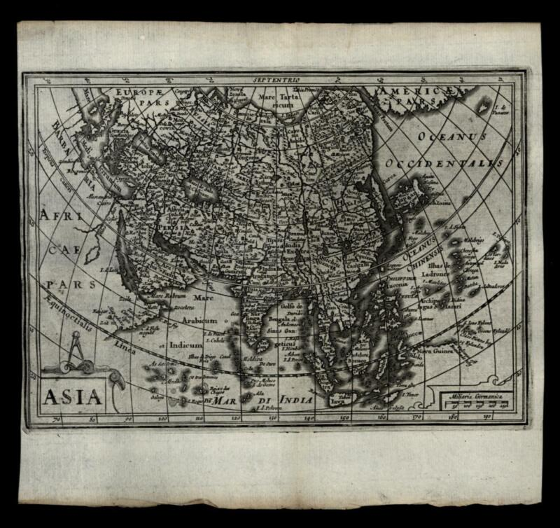 Asian Continent Korea as island China Arabia India 1661 Jansson miniature map