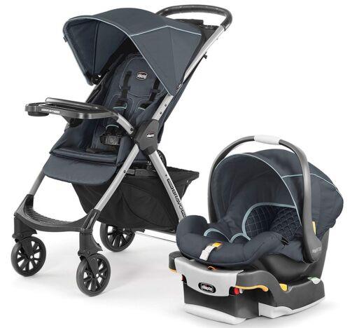 Chicco Mini Bravo Plus Travel System Stroller w/ KeyFit 30 Zip Car Seat Midnight