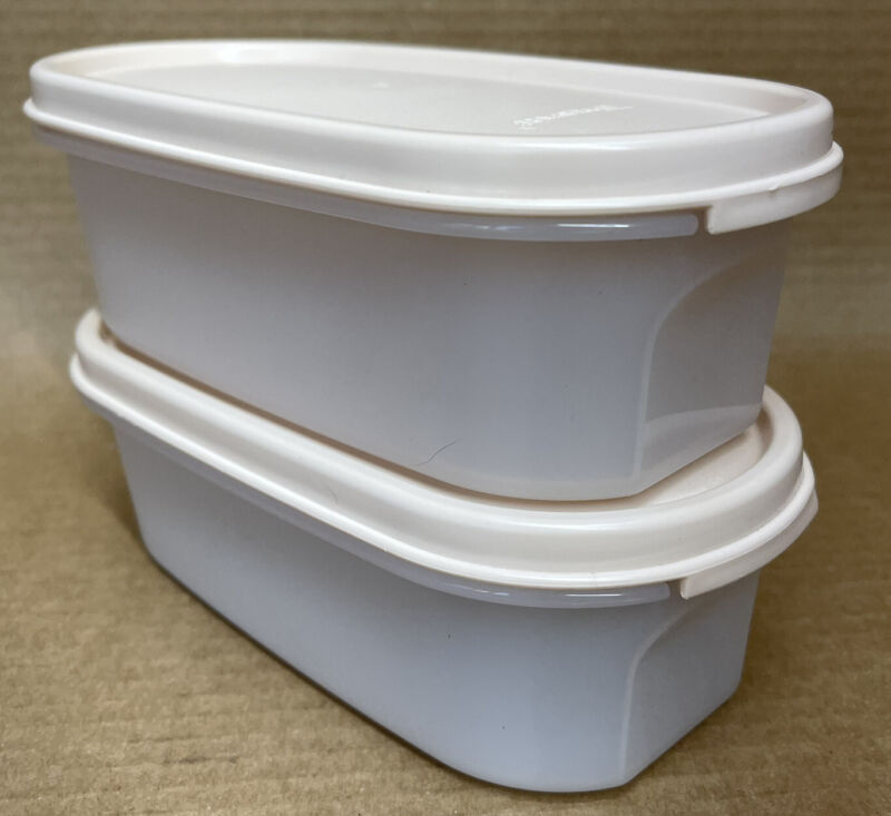 Tupperware Modular Mates Oval #1 (2 cup) Ivory Rose Seal Set of 2 #1611 New