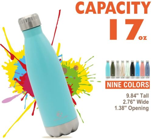 17 OZ Stainless Steel Water Bottle Vacuum Insulated Double Walled  Portable