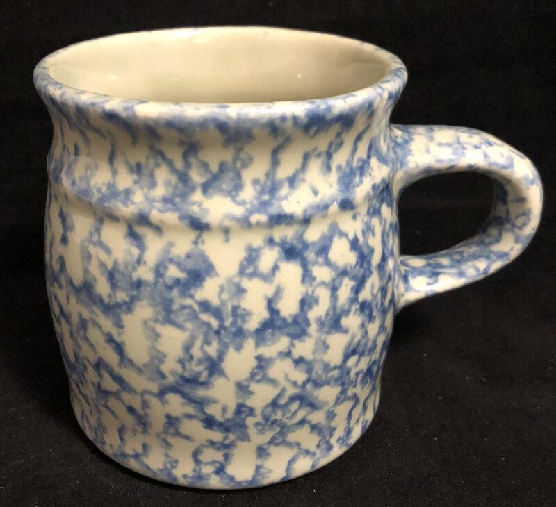 The Workshop Gerald Henn Roseville Ohio Ceramic Blue Spongeware Cup Mug